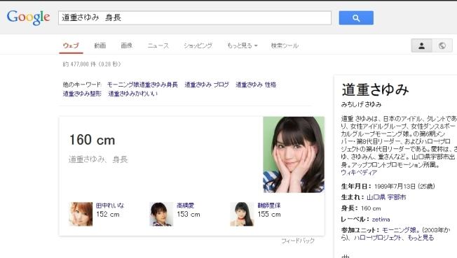 道重さゆみ身長google