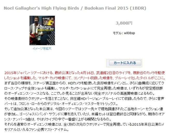Noel Gallagher's High Flying Birds Budokan Final 2015 (1BDR)